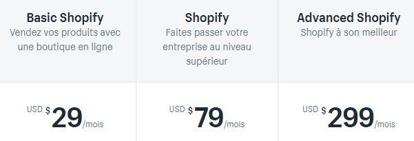 tarifs shopify