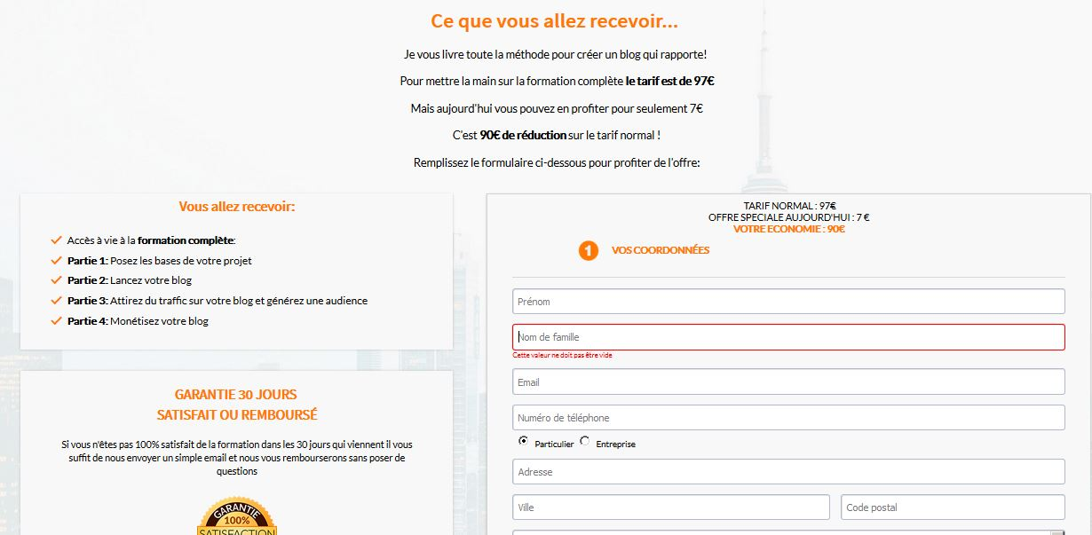 exemple page vente