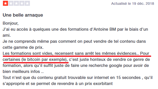 commentaire Antoine BM