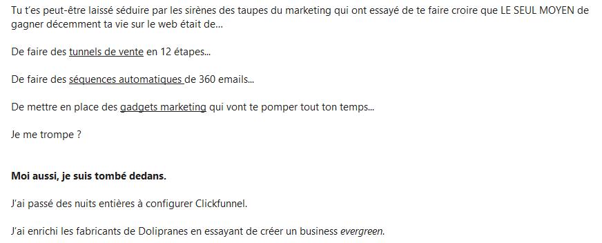 Email d'Antoine BM
