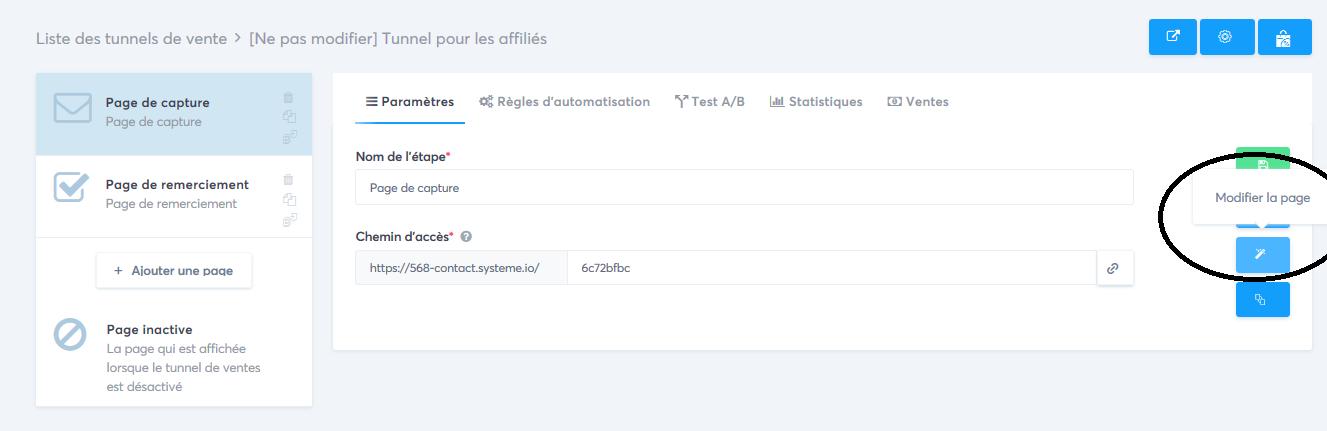 Comment accéder à l'éditeur d'une page sur Systeme.io