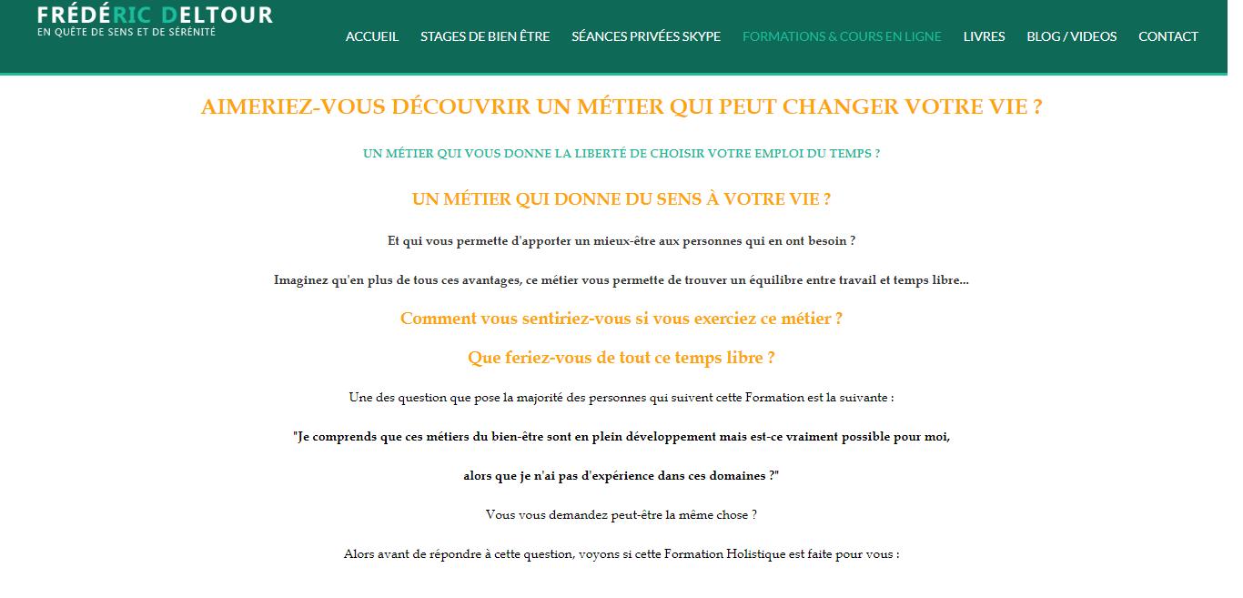 Page d'accueil du site de frédéric deltour