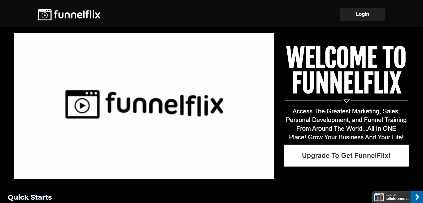 Funnelflix website's home page