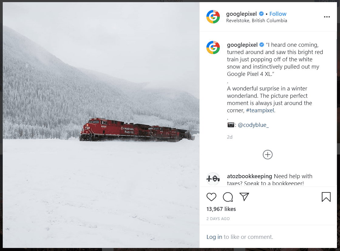 Google Pixel's post on instagram
