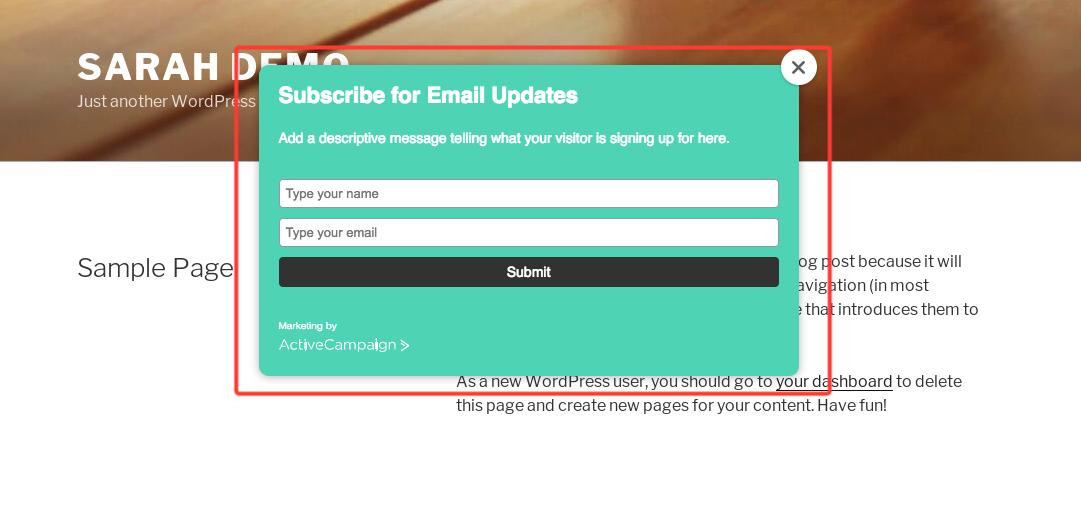 ActiveCampaign pop-up subscription form