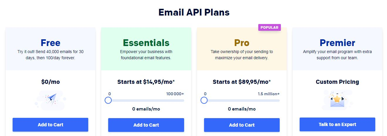 Email API plans