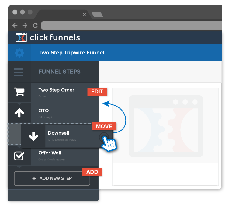 ClickFunnels' sales funnel builder