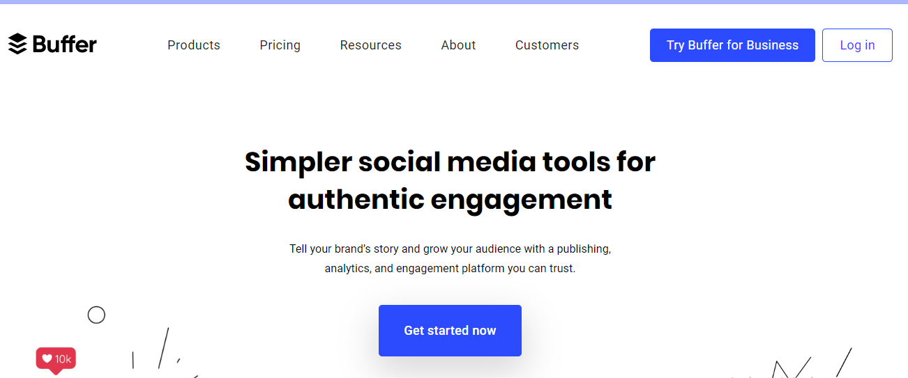 Buffer's home page