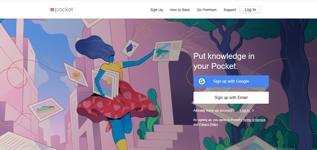 Pocket home page