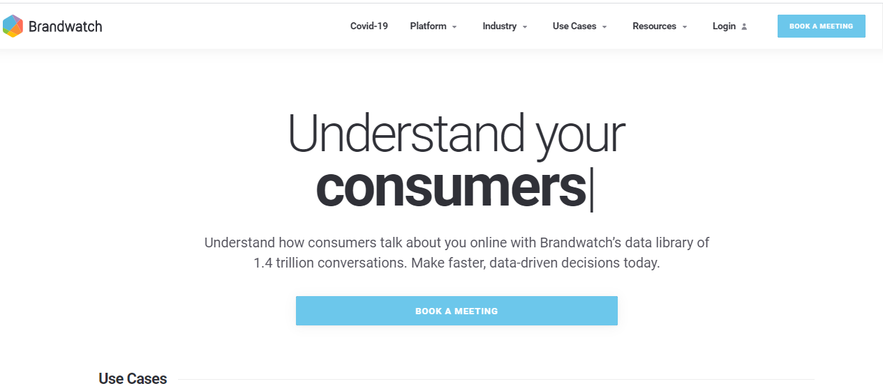 Brandwatch home page