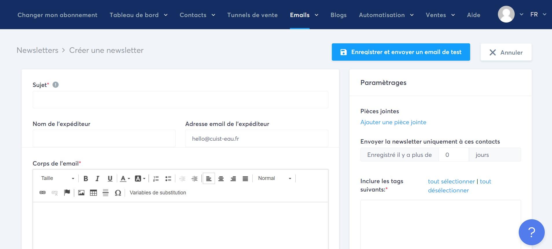 Editeur d'email de systeme.io.