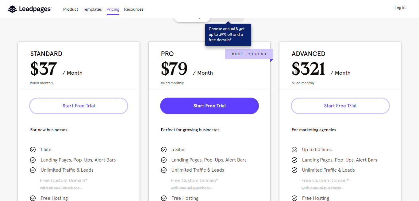 LeadePage pricing
