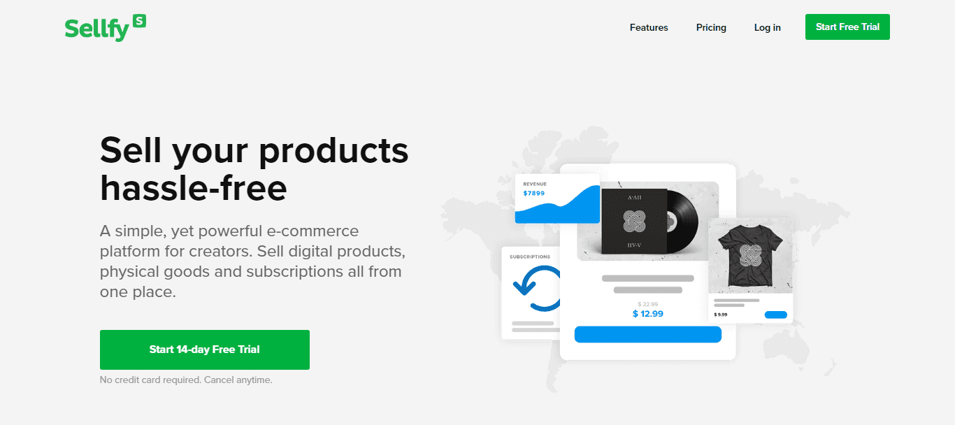 Página inicial do Sellfy