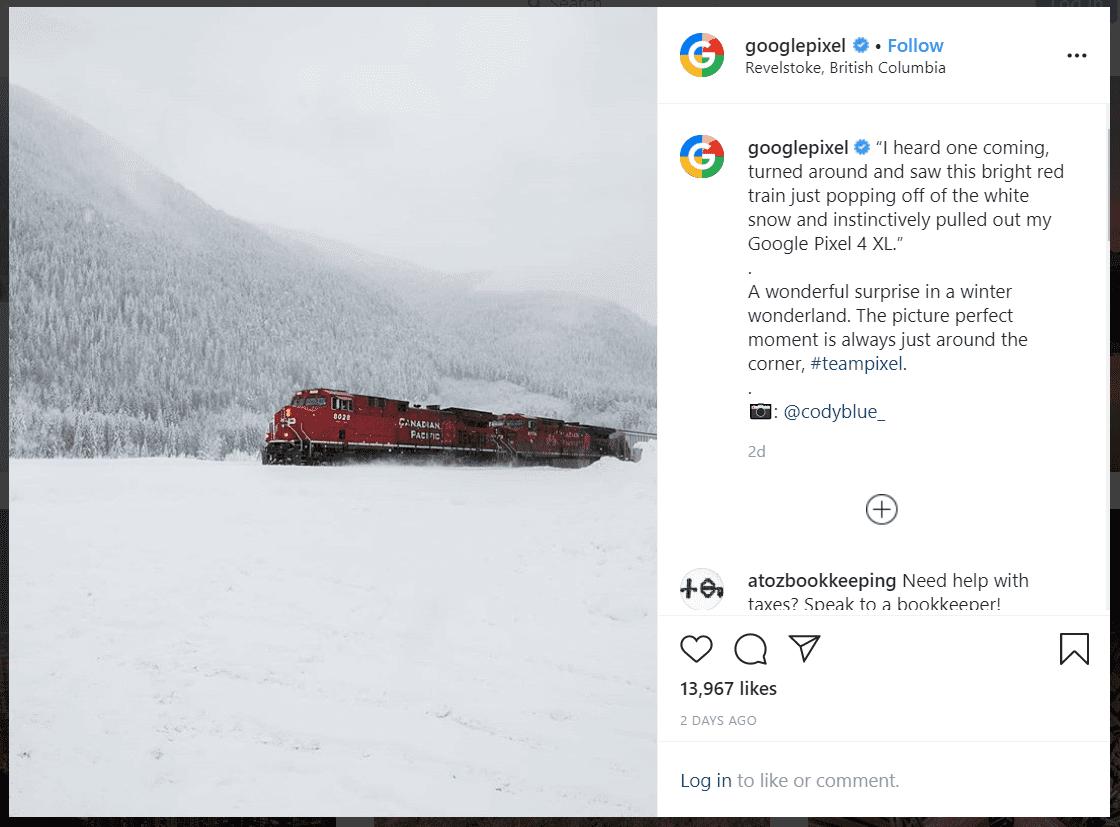 Google Pixel's post on instagram