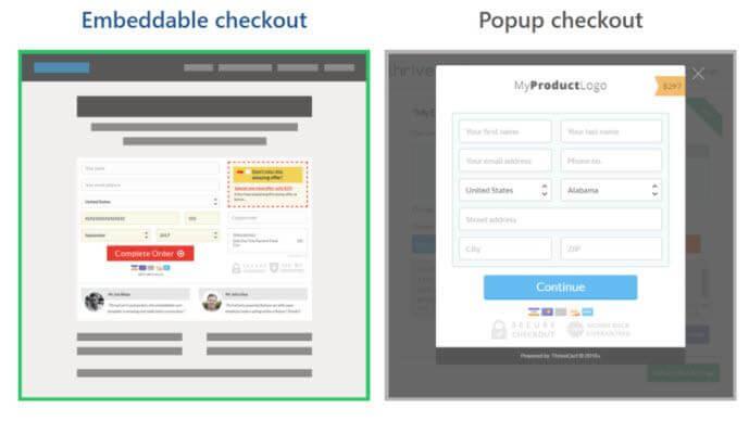 Checkout embutido e de pop-up