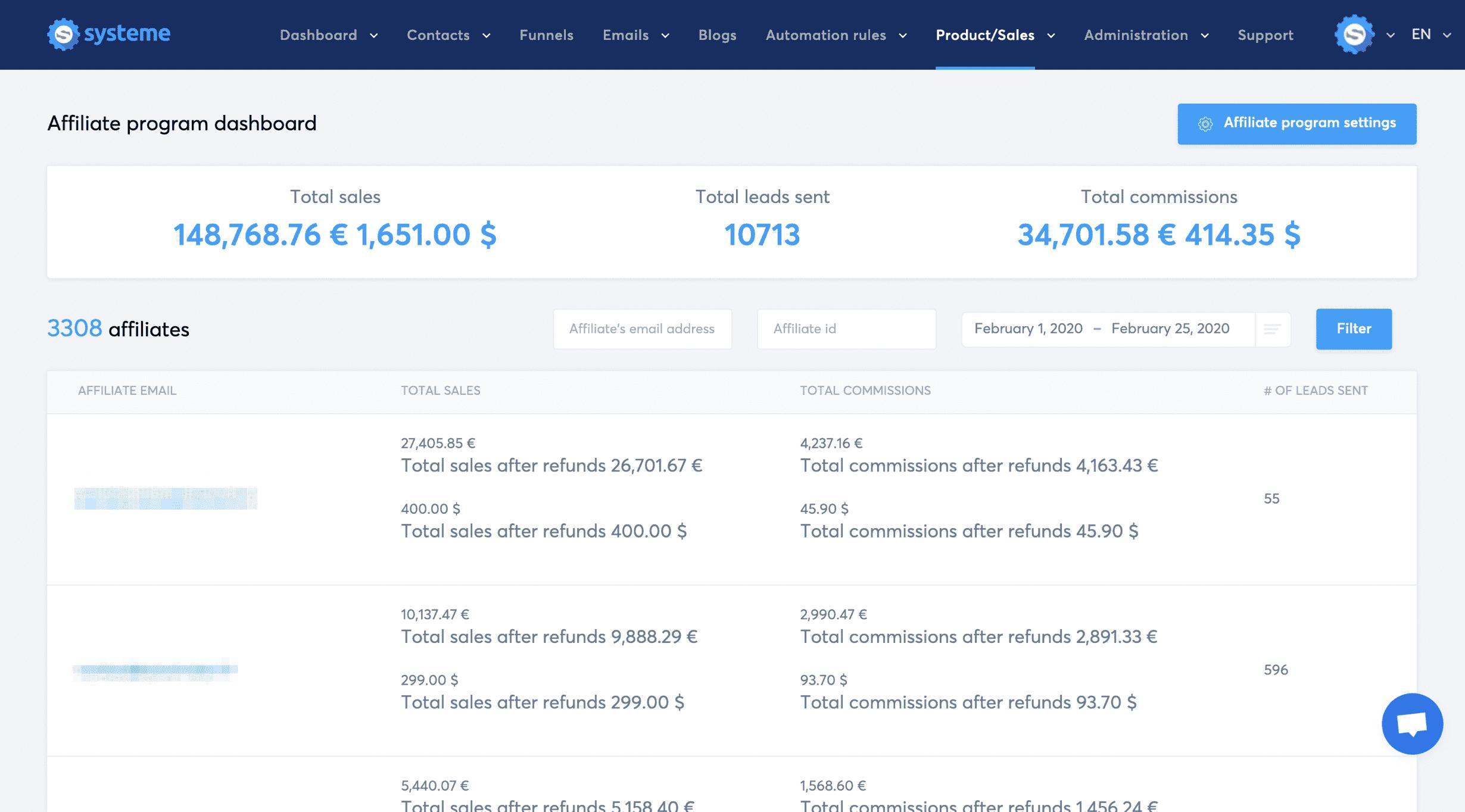 Dashboard do programa de afiliados do Systeme.io