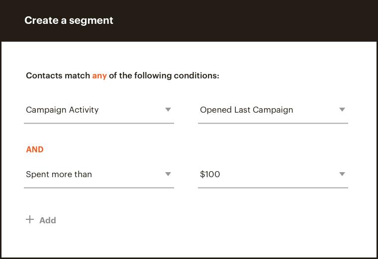MailChimp's powerful audience segmentation