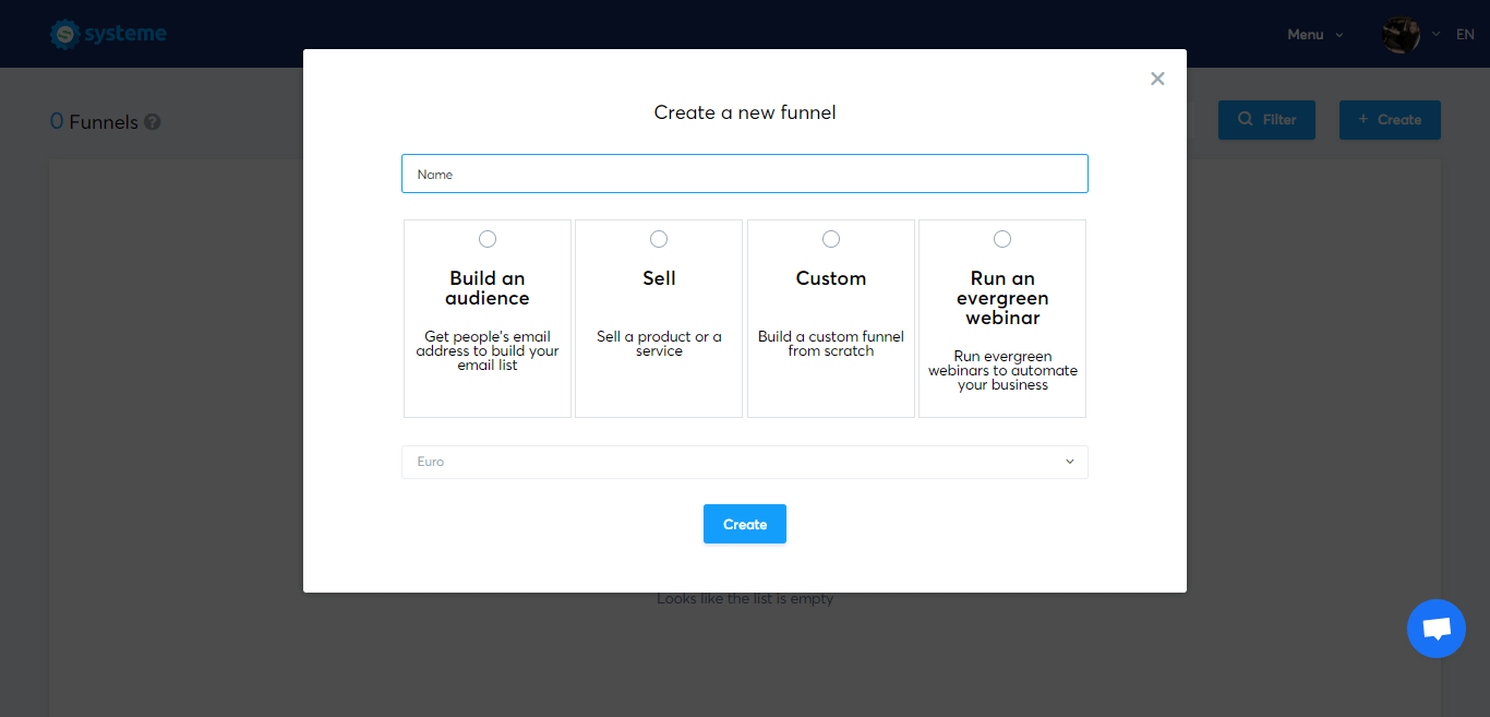 Create a new funnel