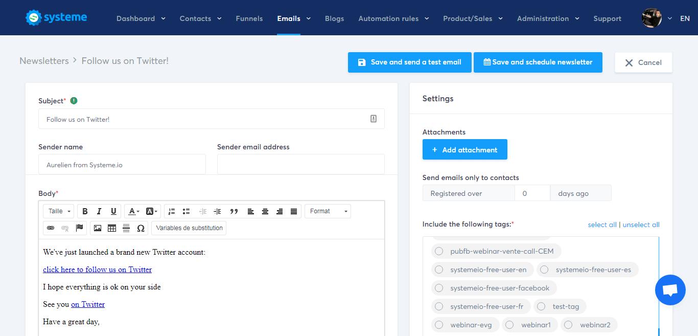 Systeme.io's newsletter