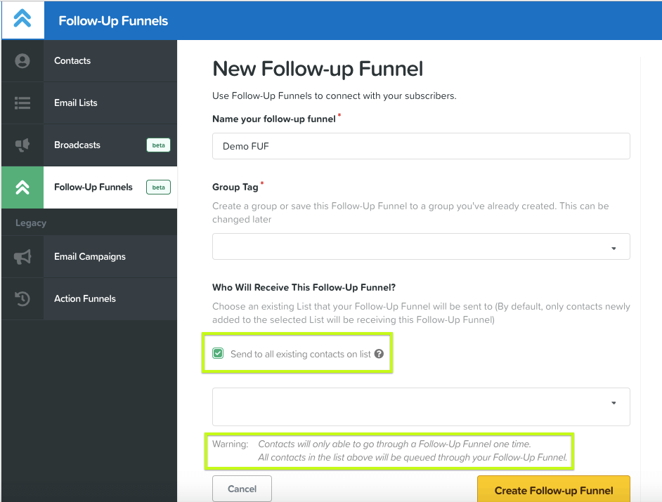Follow-up funnel