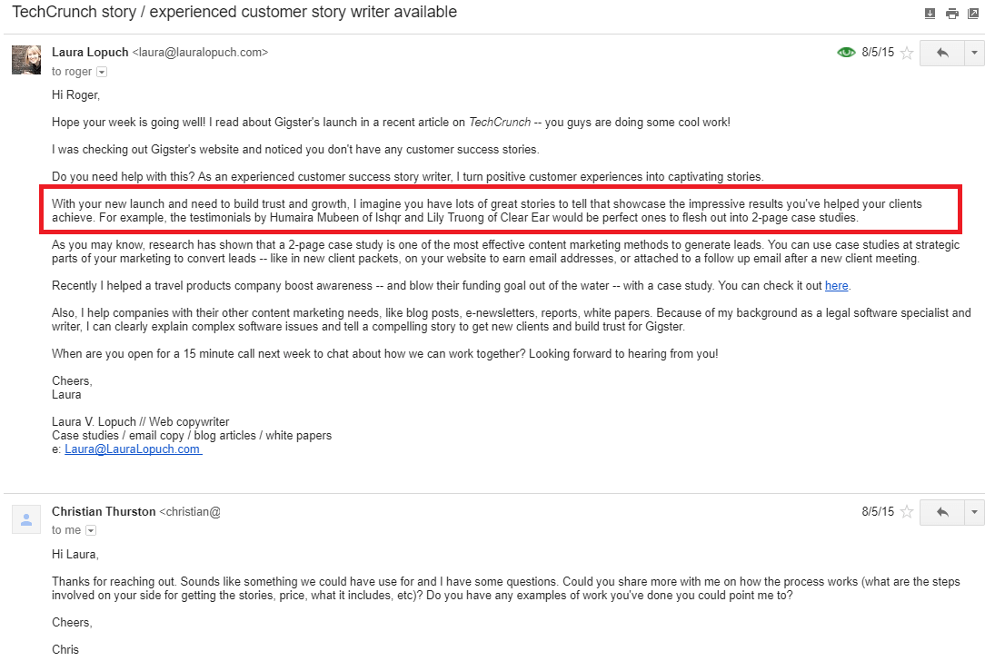 Copyhackers cold email