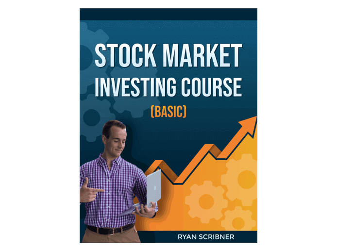 """The cover of the book : """"Stock market investing course"""""""