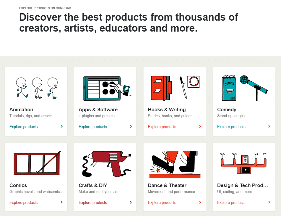 Explore products on Gumroad