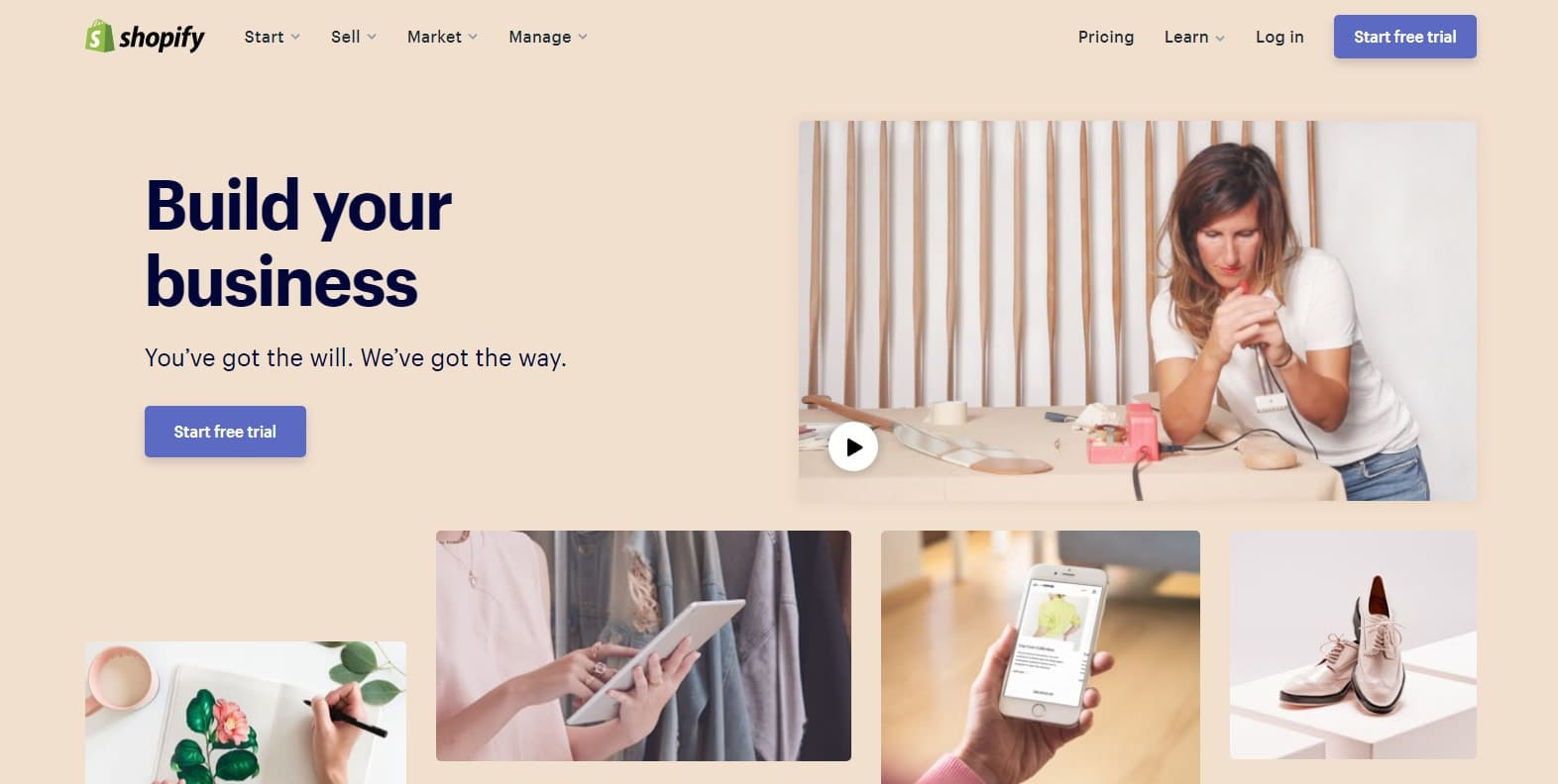 Shopify website front