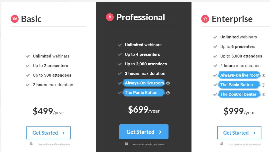 WebinarJam pricing page