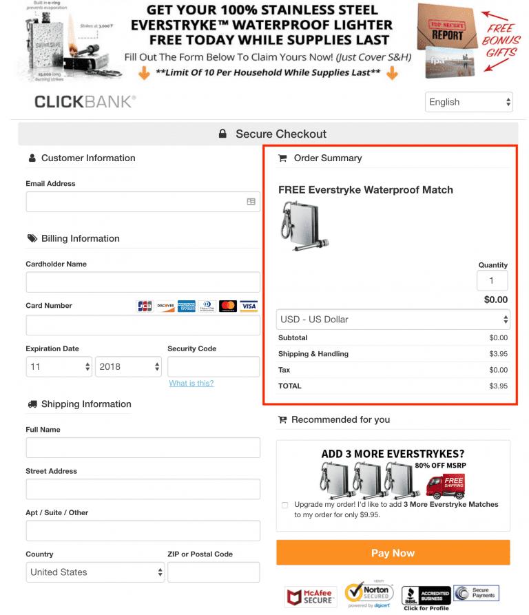 checkout page
