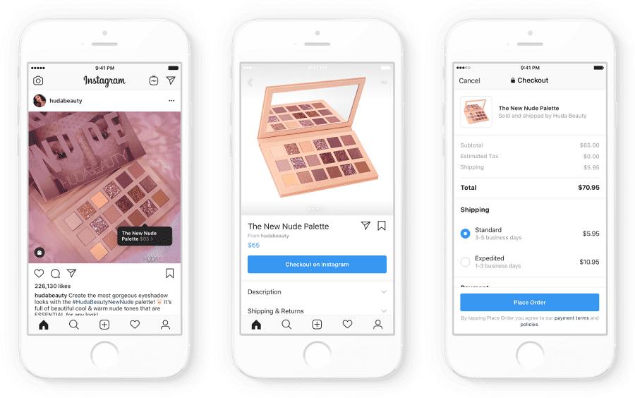 imagem mostrando loja de maquiagem no Instagram