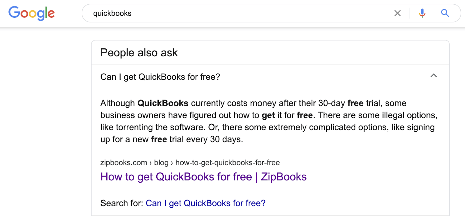 search for 'QuickBooks'