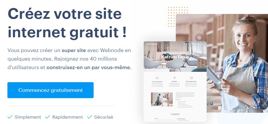 La page d'accueil de Webnode