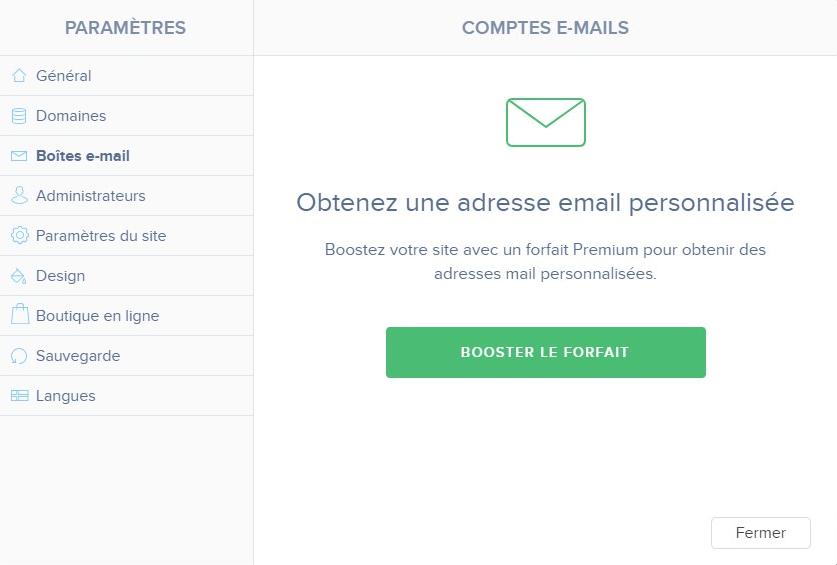 adresse email avec Webnode