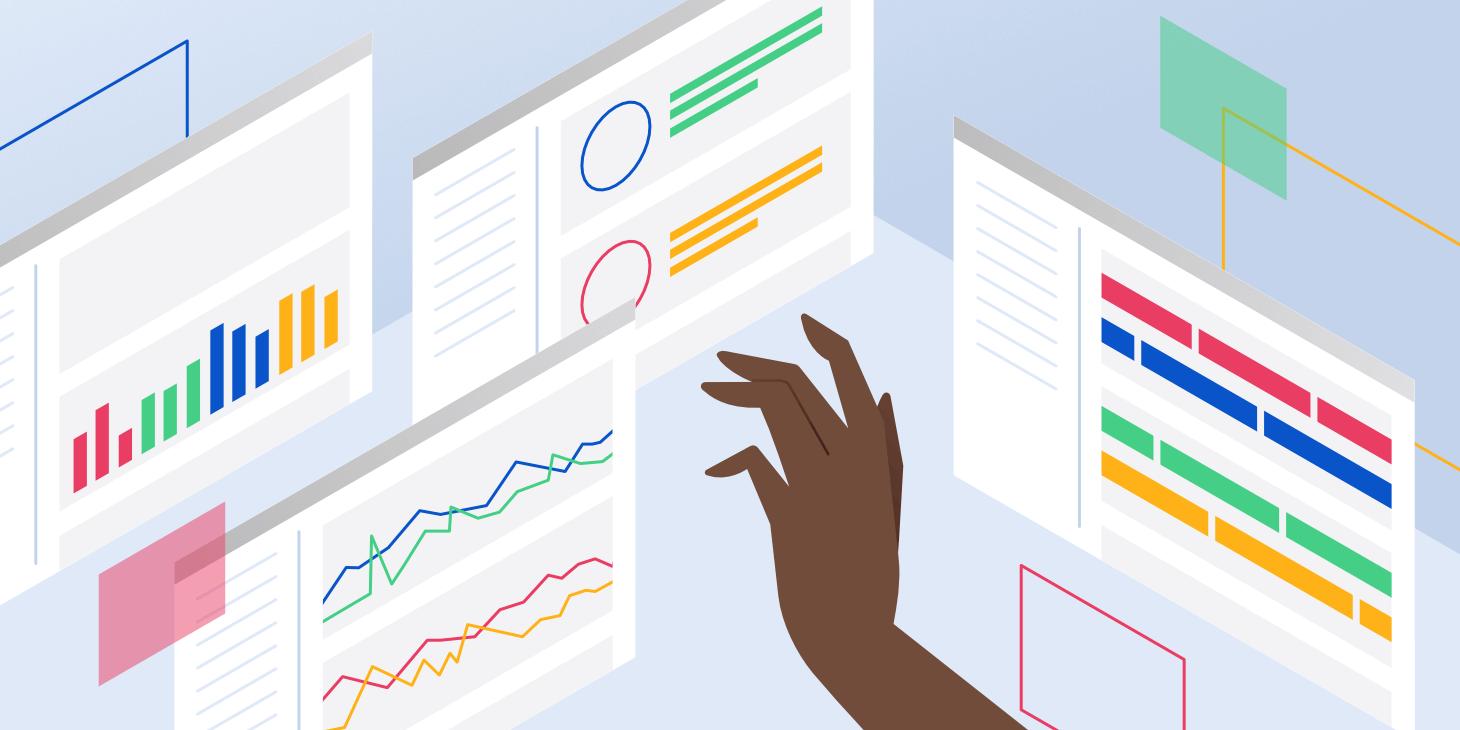 Imagem ilustrativa de uma mão tocando telas com vários gráficos