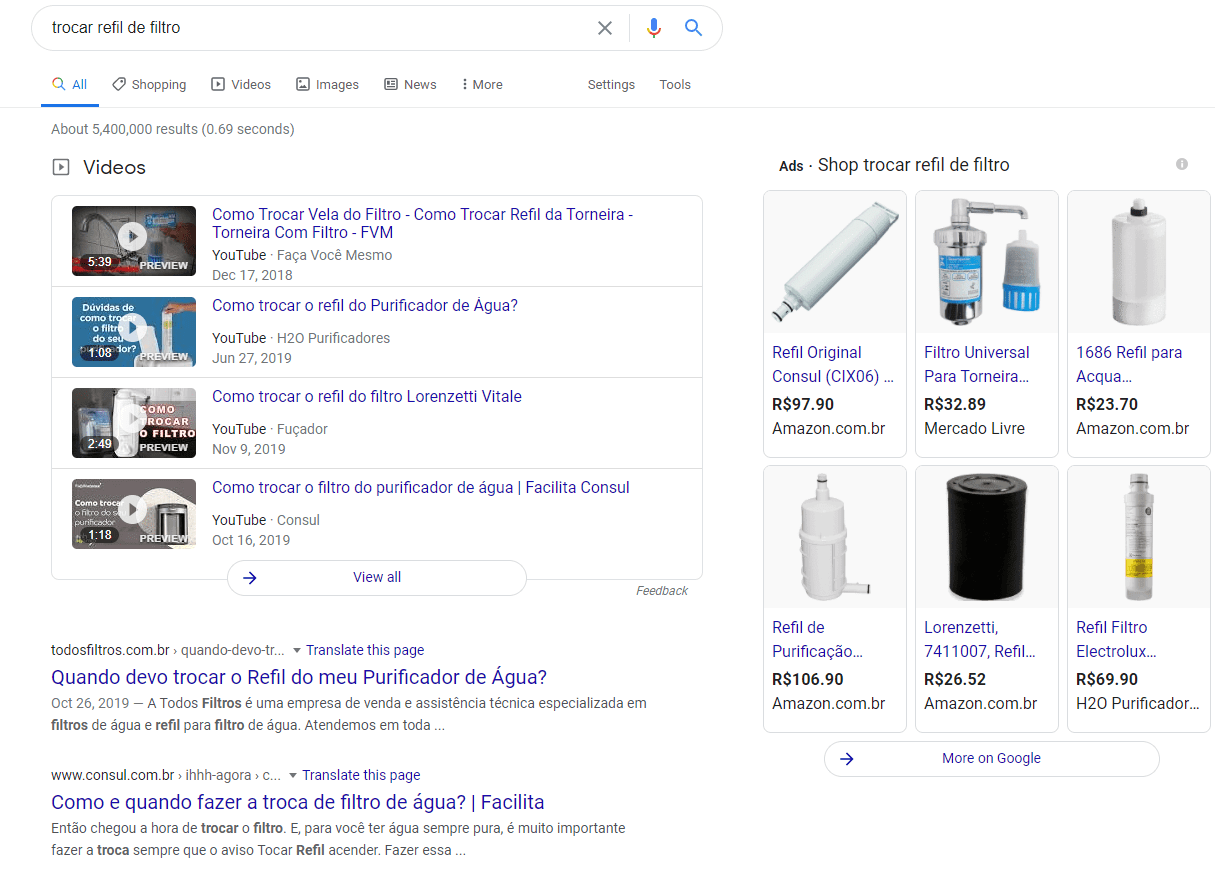 """Print Screen de uma página de resultados do Google sobre a pesquisa """"filtro de água"""""""
