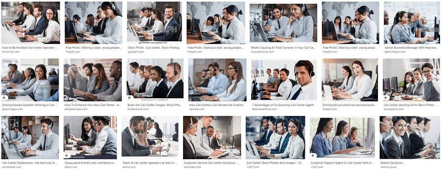 Print screen mostrando imagens de atendentes de call center no Google Images