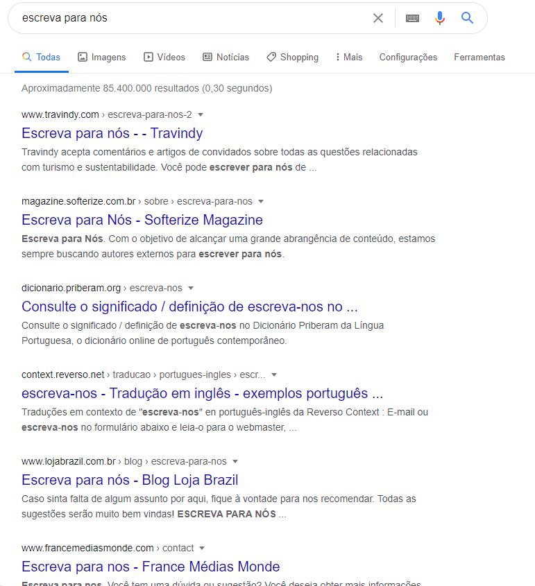 """Print screen de uma página de resultados do Google sobre a pesquisa """"escreva para nós"""""""