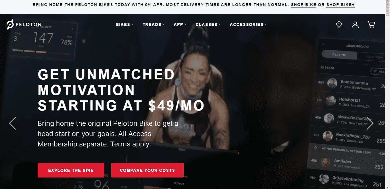 fitness brand Peloton's landing page