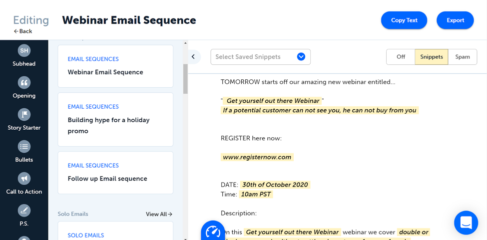 webinar email sequence