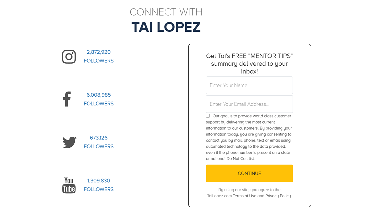 Connect With TAI LOPEZ
