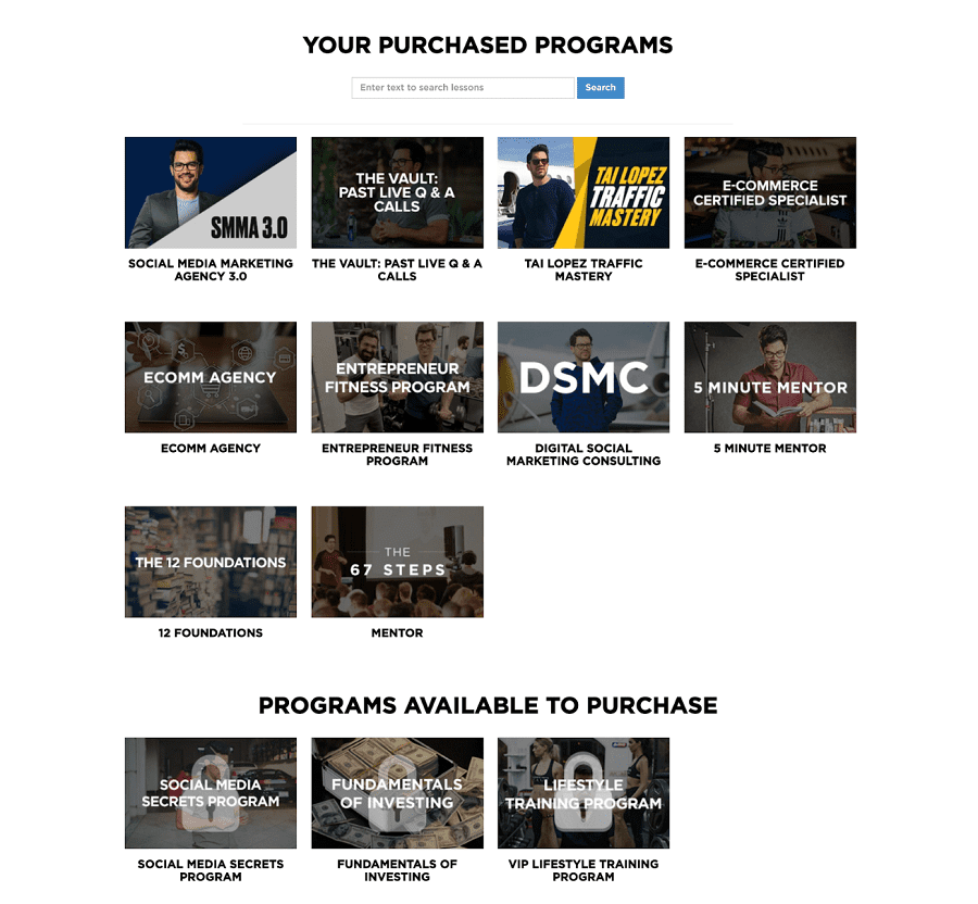 Your purchased programs