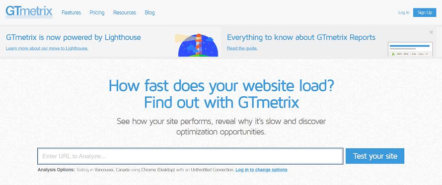GTMetrix Home page