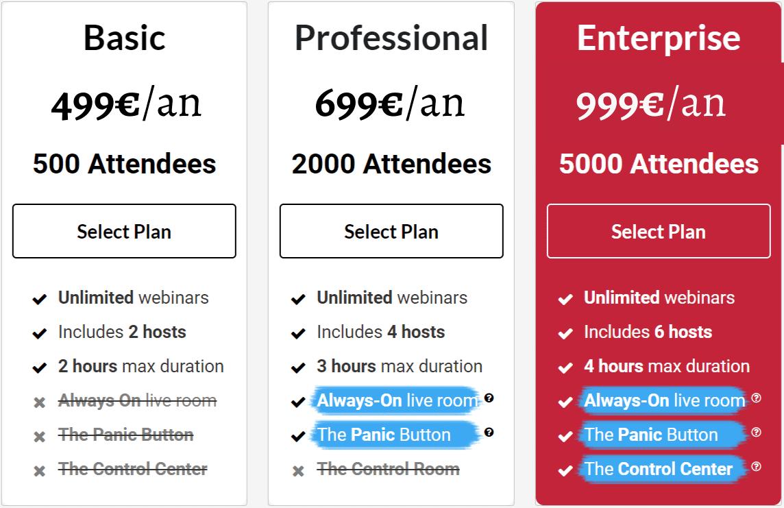 Les tarifs de WebinarJam