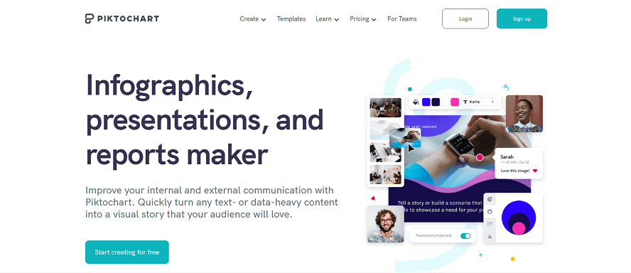 Piktochart Home page