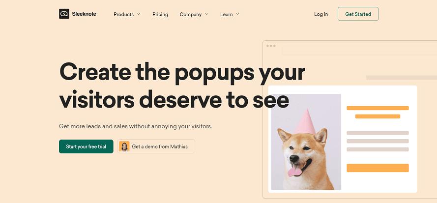 Sleeknote Home page