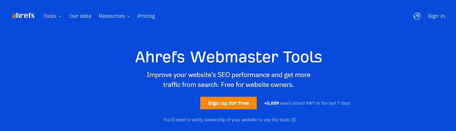 Ahrefs Webmaster Tools