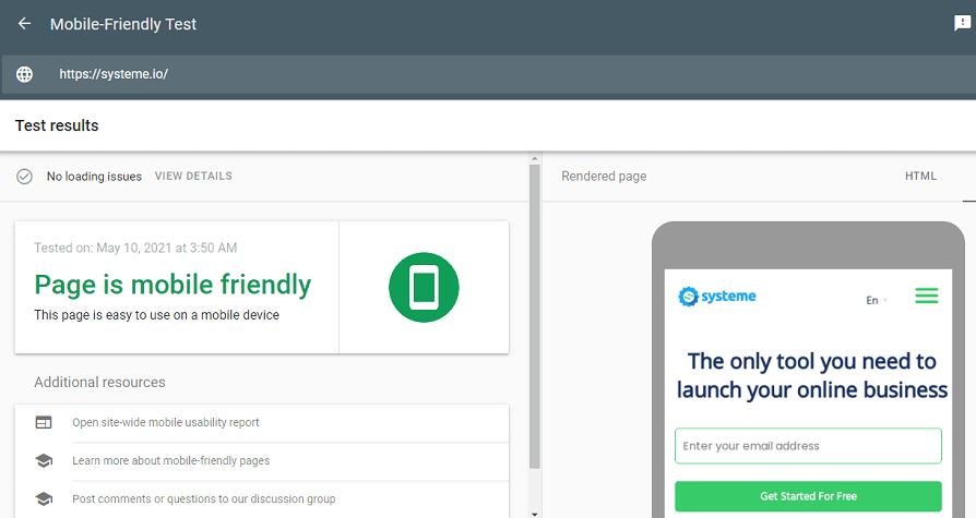 Google's easy mobile-friendly test