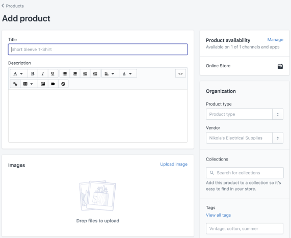 Add product with Shopify