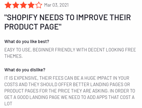 reviews from some of Shopify's own customers on G2.com